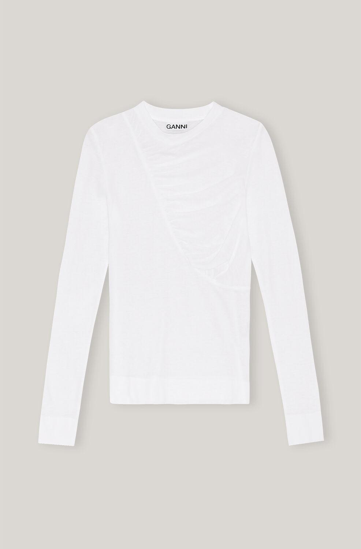 가니 셔츠 Ganni Organic Cotton Quilted Long-Sleeve Tee,Bright White