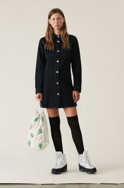 Soft Denim Shirt Dress, Black Washed, hi-res