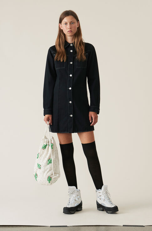 Soft Denim Shirt Dress, Black Washed, hi-res