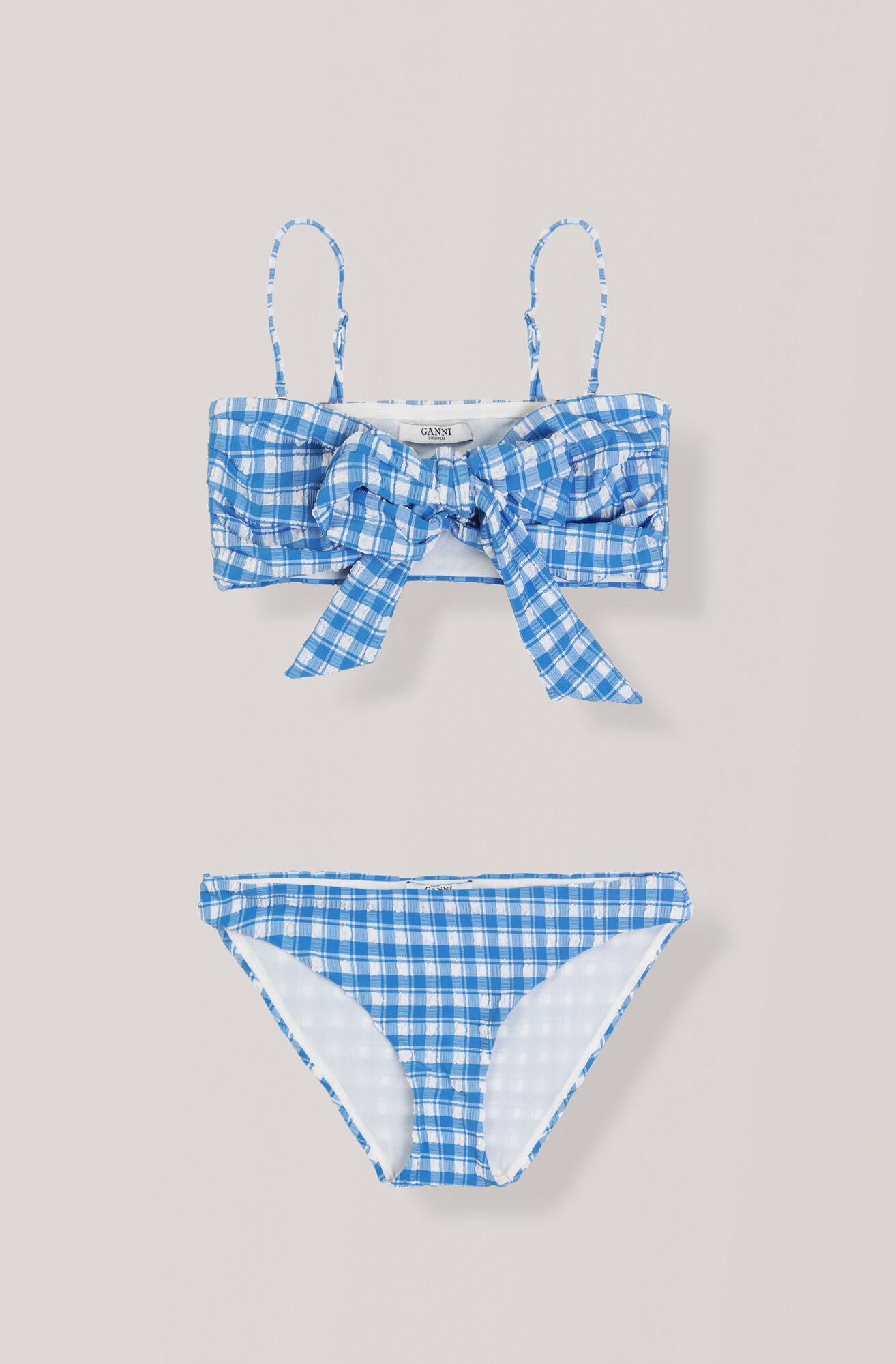 Seersucker Swimwear Wrap Bikini, Lapis Blue, hi-res