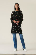 Printed Georgette Minikleid, Black, hi-res