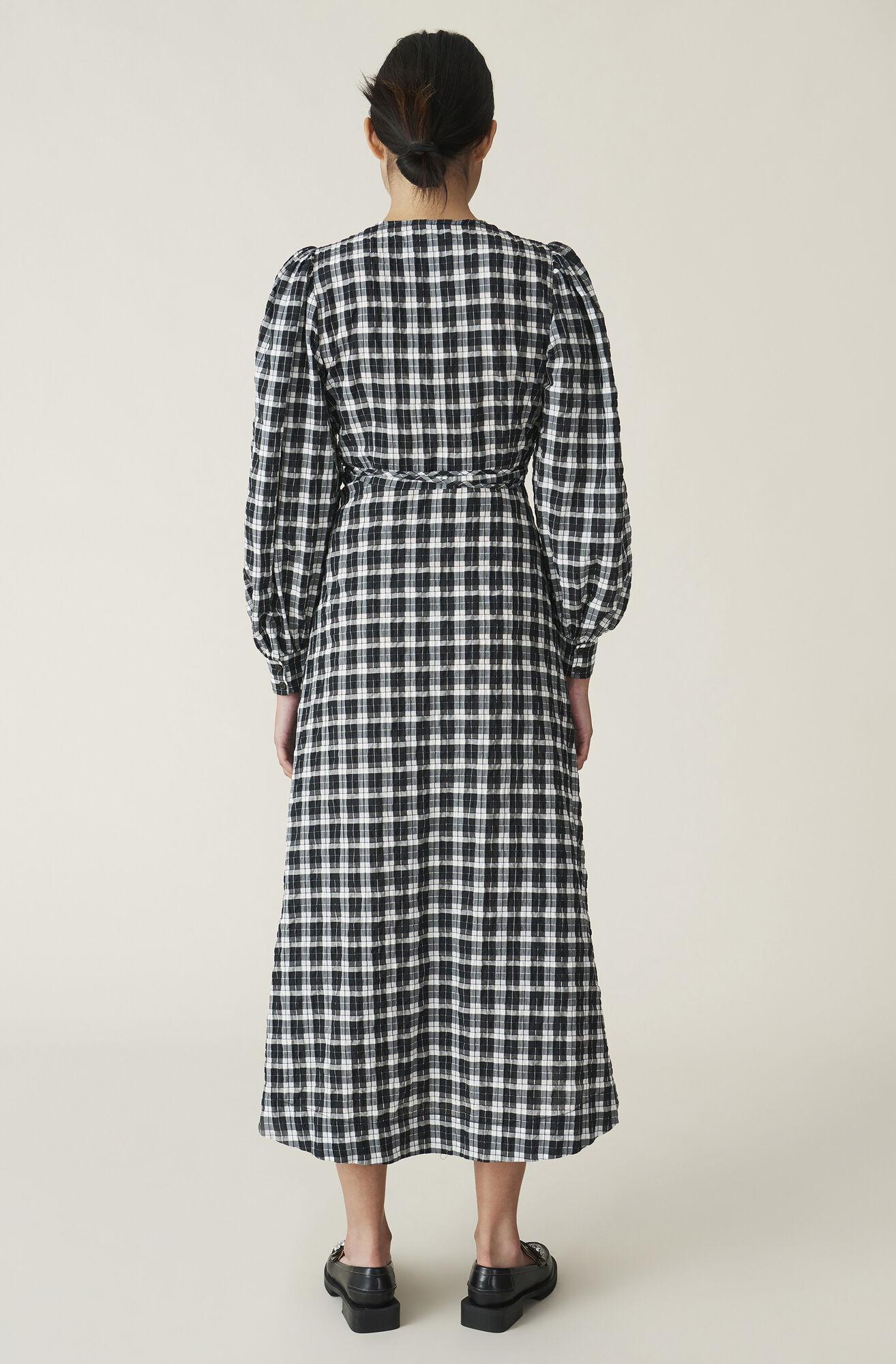 Ganni Us Seersucker Check Wrap Dress 118 00 Usd Shop Your