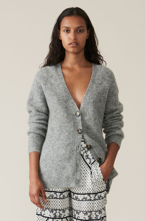 Soft Wool Knit Cardigan, Paloma Melange, hi-res