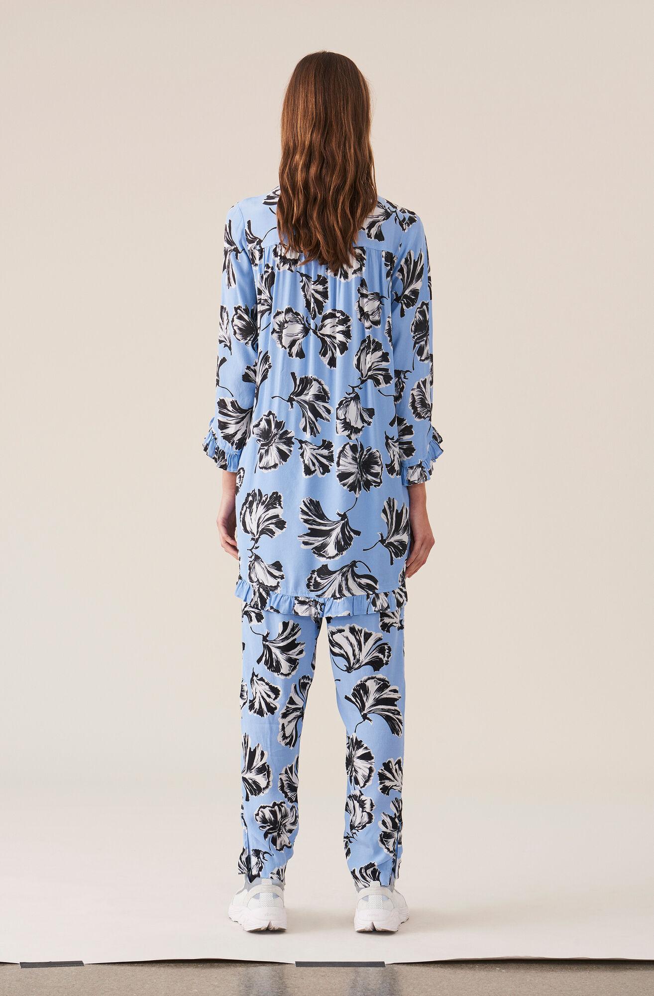 Printed Crepe Pants, Serenity Blue, hi-res