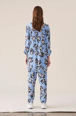 Printed Crepe Bukser, Serenity Blue, hi-res