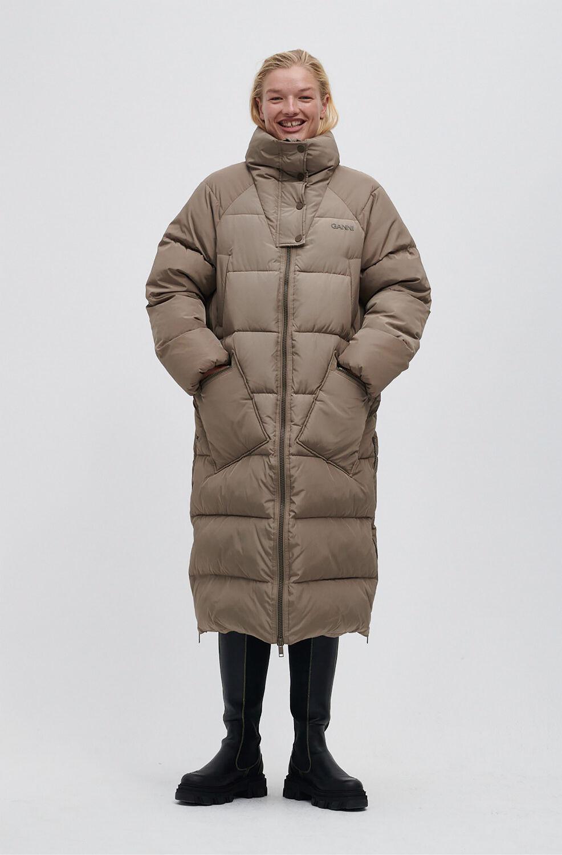 가니 오버사이즈 패딩 롱자켓 Ganni Recycled Polyester Oversized Puffer Coat, Fossil