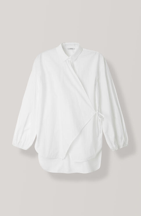 Plain Cotton Poplin Blus, Bright White, hi-res