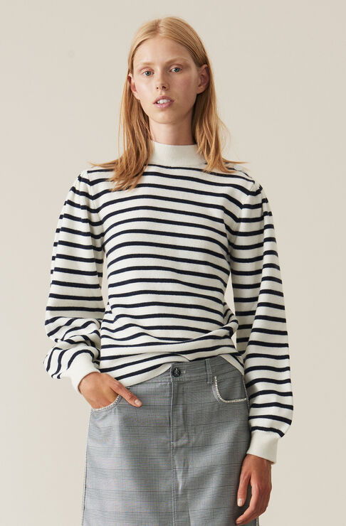 Striped Knit Puff Sleeve Pullover, Egret, hi-res