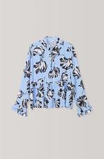 Printed Crepe Blouse, Serenity Blue, hi-res