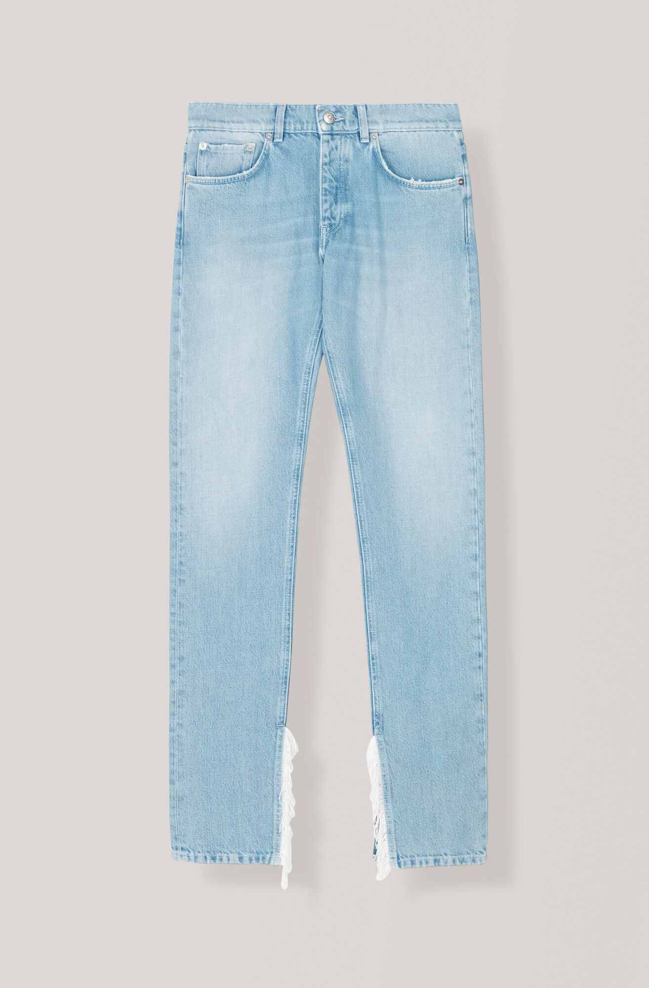 Washed Denim Slit Fringe Pants, Bleached Denim, hi-res