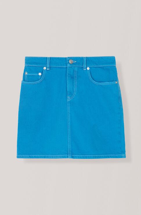 Washed Denim Skirt, Lapis Blue Overdyed, hi-res