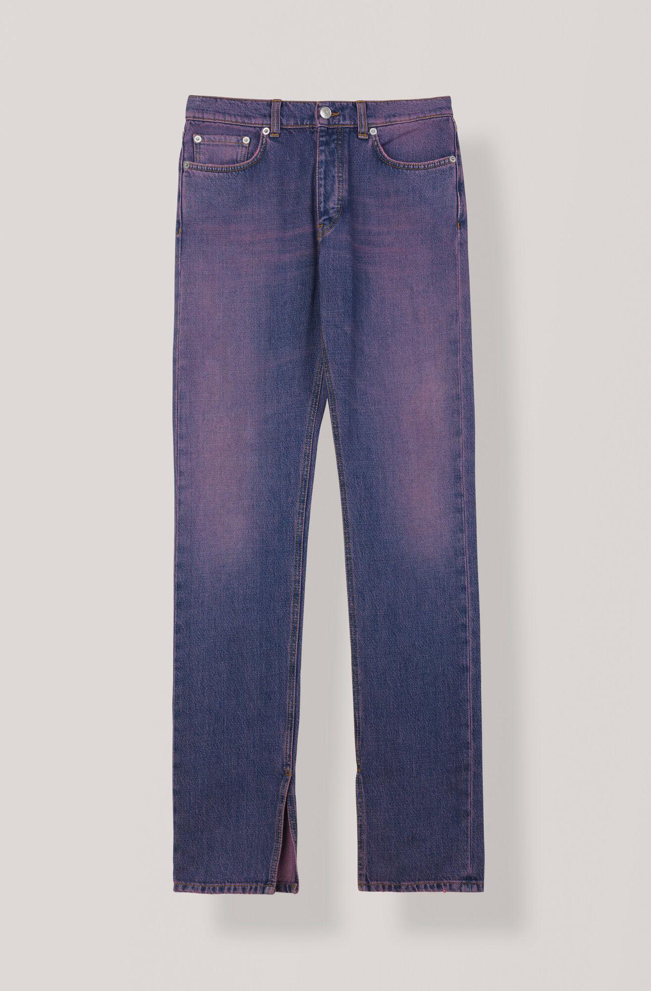 Denim Slit Pants, Hot Pink On Blue, hi-res