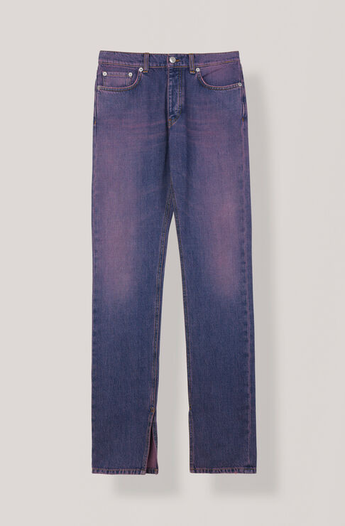 Denim Slit Pants, Hot Pink On Blue, hi-res