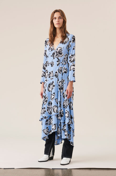 Printed Crepe Wrap Dress, Serenity Blue, hi-res