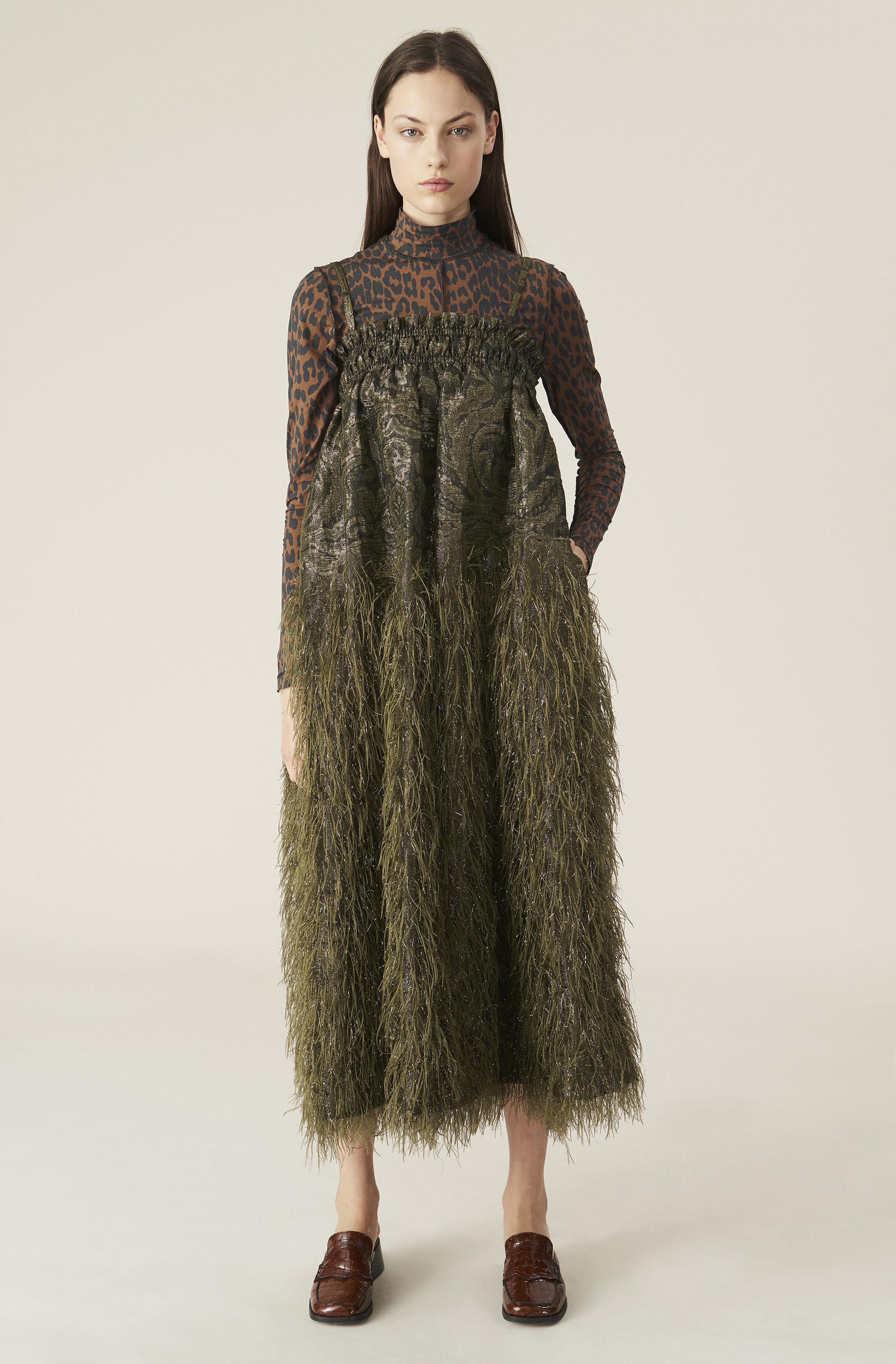 GANNI Feathery Cotton Strap Dress ( 300