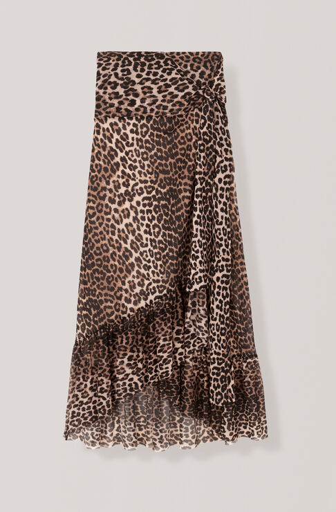 Printed Mesh Wrap Skirt, Leopard, hi-res