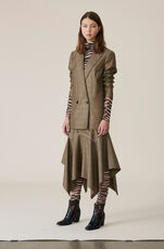 Silk Wool Suiting Skirt, Hazelnut, hi-res