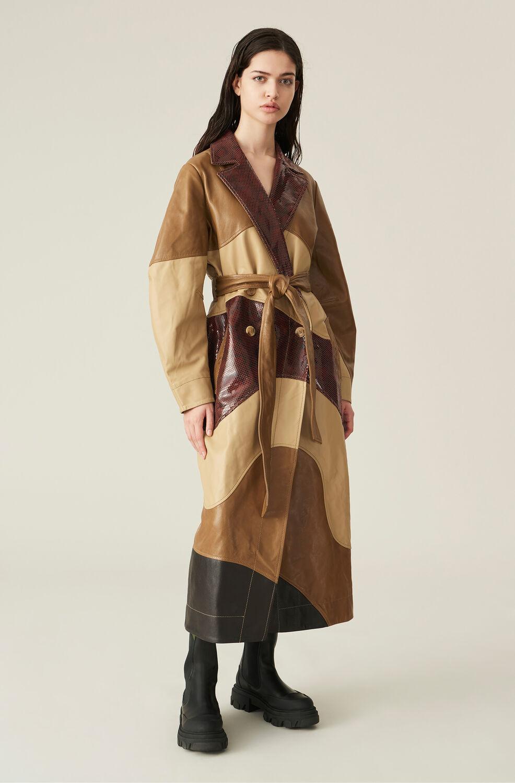 가니 가죽 롱자켓 Ganni Lamb Leather Coat,Mixed Colours