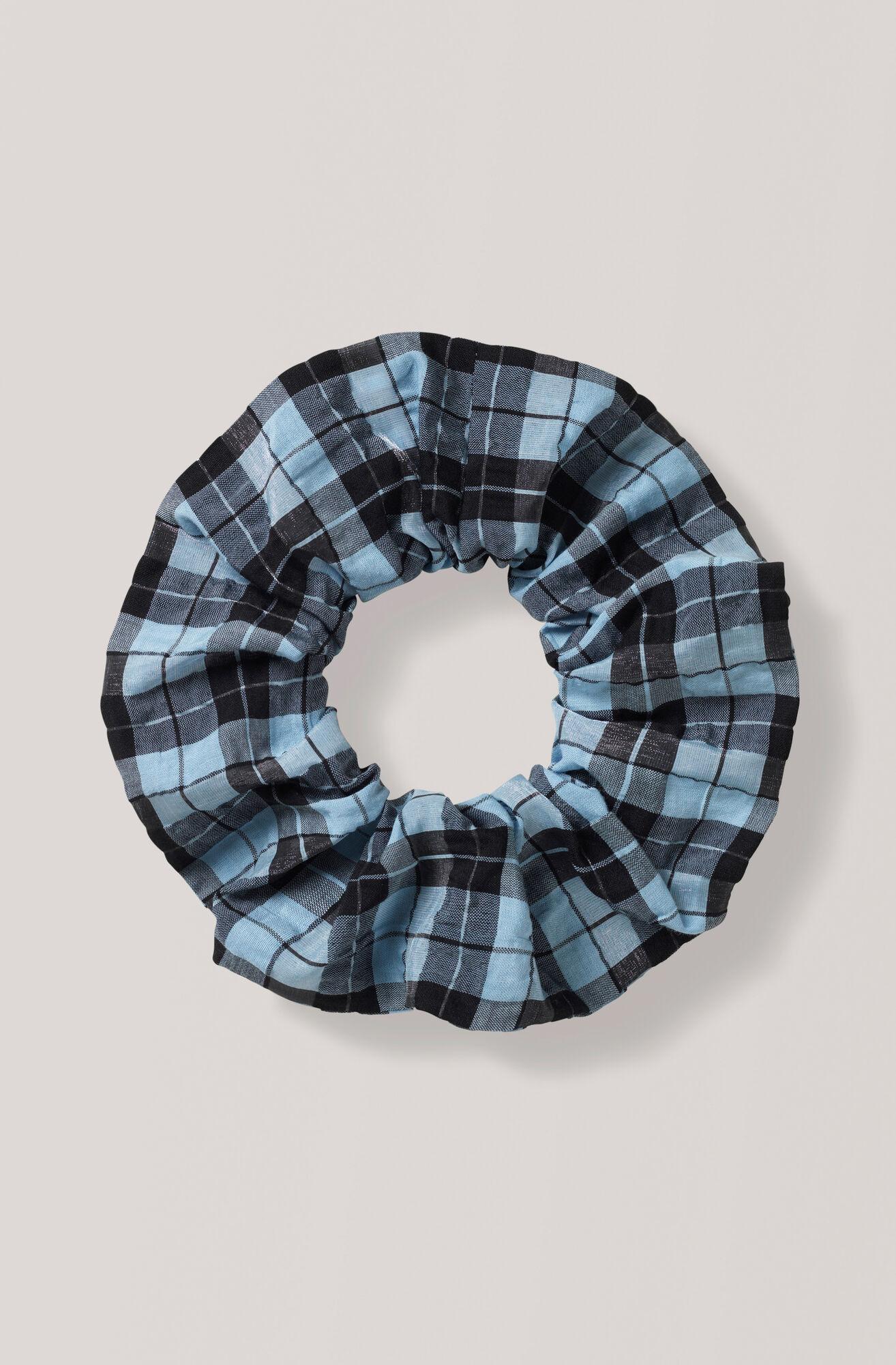 Seersucker Check Scrunchie, Serenity Blue, hi-res