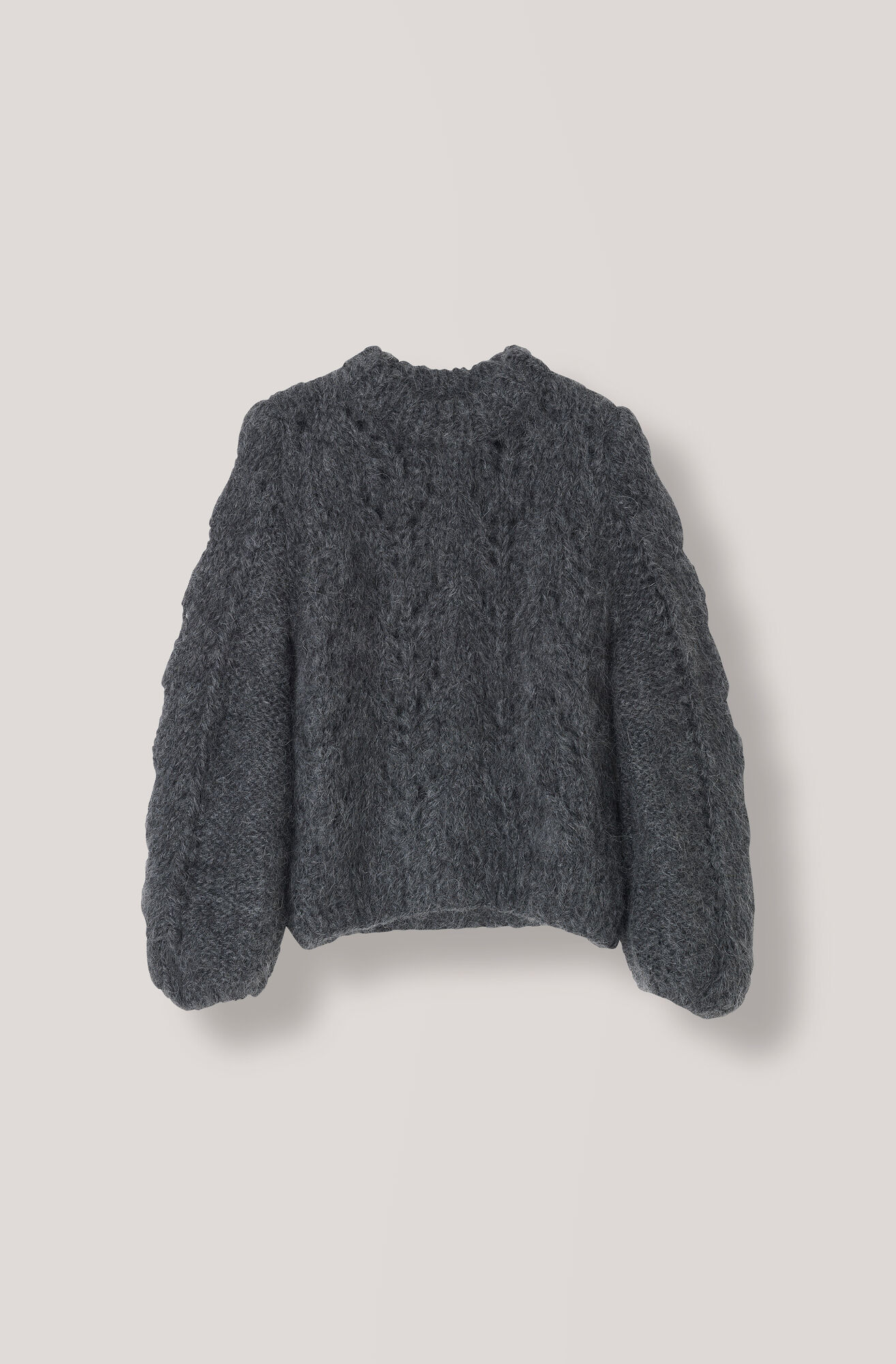 Hand Knit Wool Pullover, Ebony Melange, hi-res