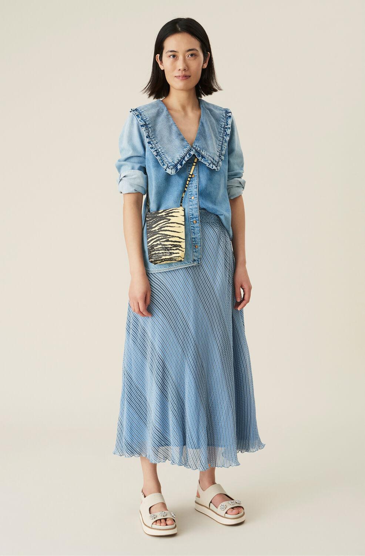 Ganni Pleated Georgette Midi Skirt,Heather
