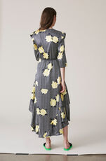 Calla Silk Wrap Dress, Black, hi-res