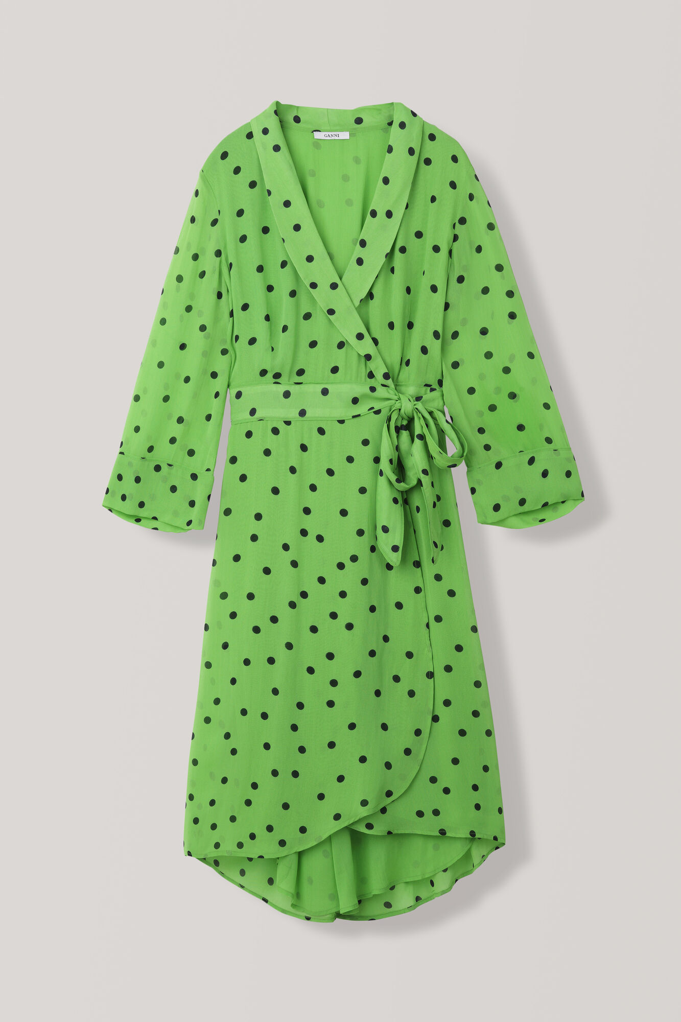 Dainty Georgette Wrap Dress, Classic Green, hi-res