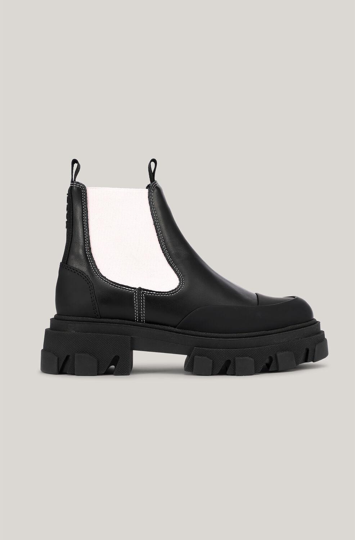 가니 앵클 부츠 Ganni Leather Chelsea Boots,Black/Pink