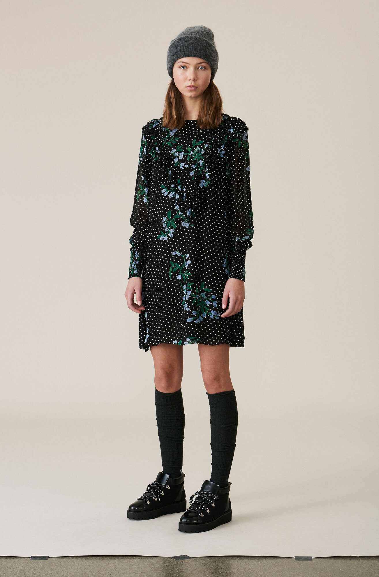 Rometty Georgette Mini Dress, Black, hi-res