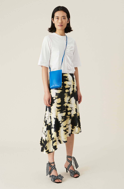 Ganni Black Tie-Dye Silk Satin Asymmetrical Midi Skirt,Phantom