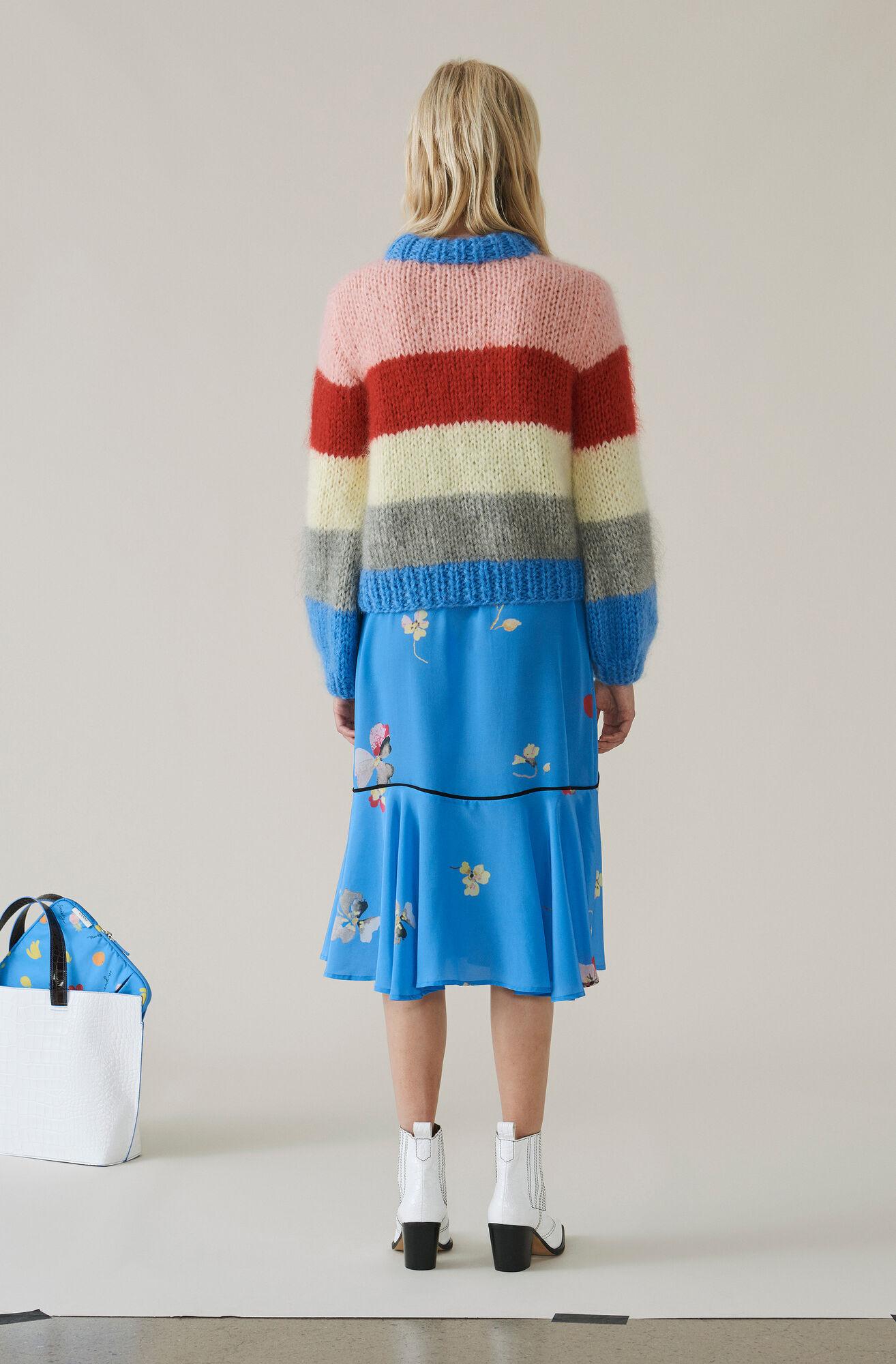 Hand Knit Wool Pullover, Block Colour, hi-res