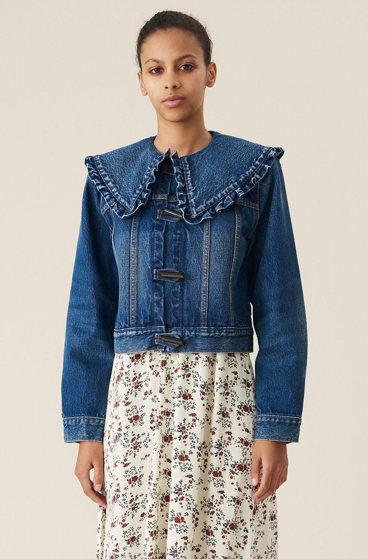 Ganni Organic Cotton Denim Jacket,Dark Indigo