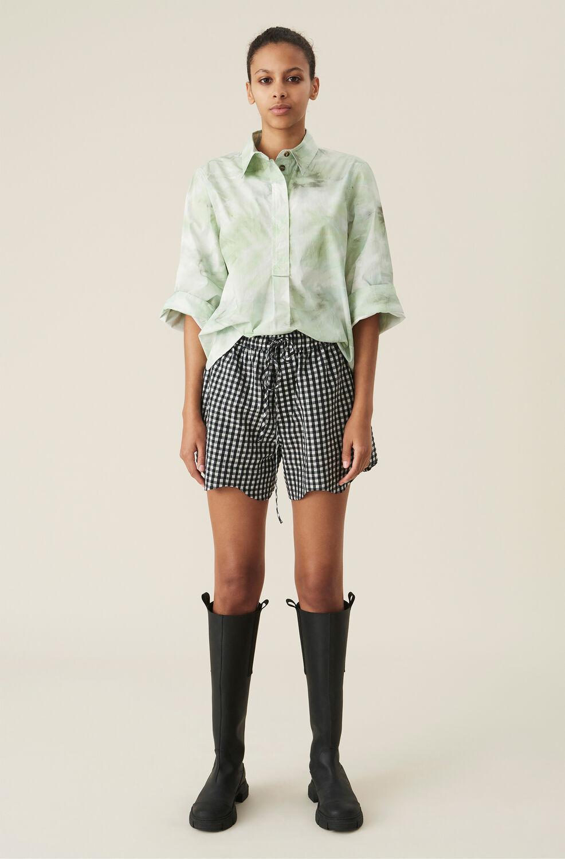 Ganni Checkered Seersucker Drawstring Shorts,Black