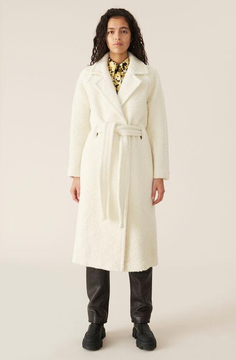 Ganni Wools BOUCLE WOOL LONG WRAP COAT