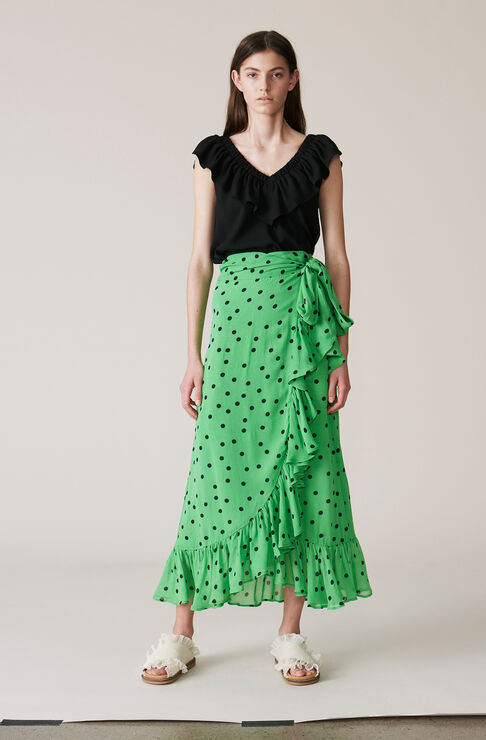 Dainty Georgette Wrap Skirt, Classic Green, hi-res