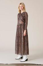 Printed Mesh Maxi Dress, Leopard, hi-res