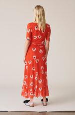 Printed Mesh Wrap Skirt, Big Apple Red, hi-res