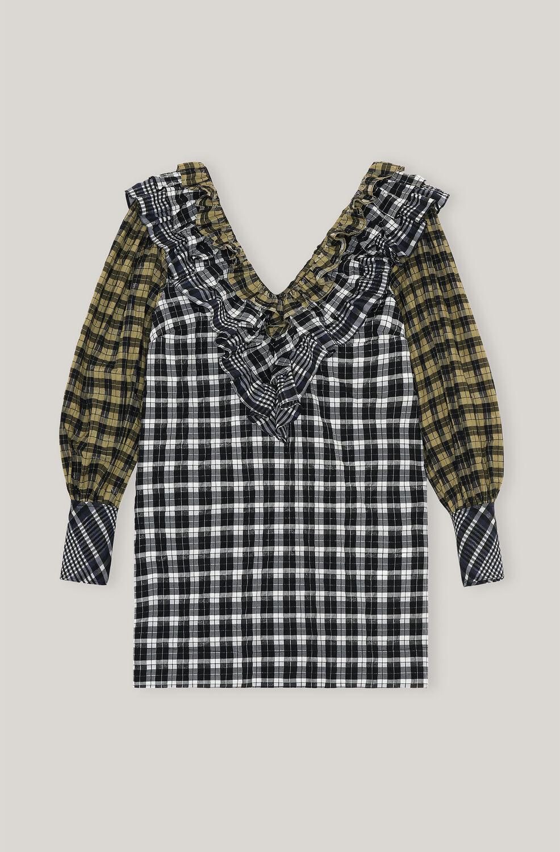 가니 패치워크 러플 미니 원피스 Ganni Patchwork Seersucker Ruffled Mini Dress,Block Colour