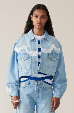 Washed Denim Fringe Jacket, Bleached Denim, hi-res
