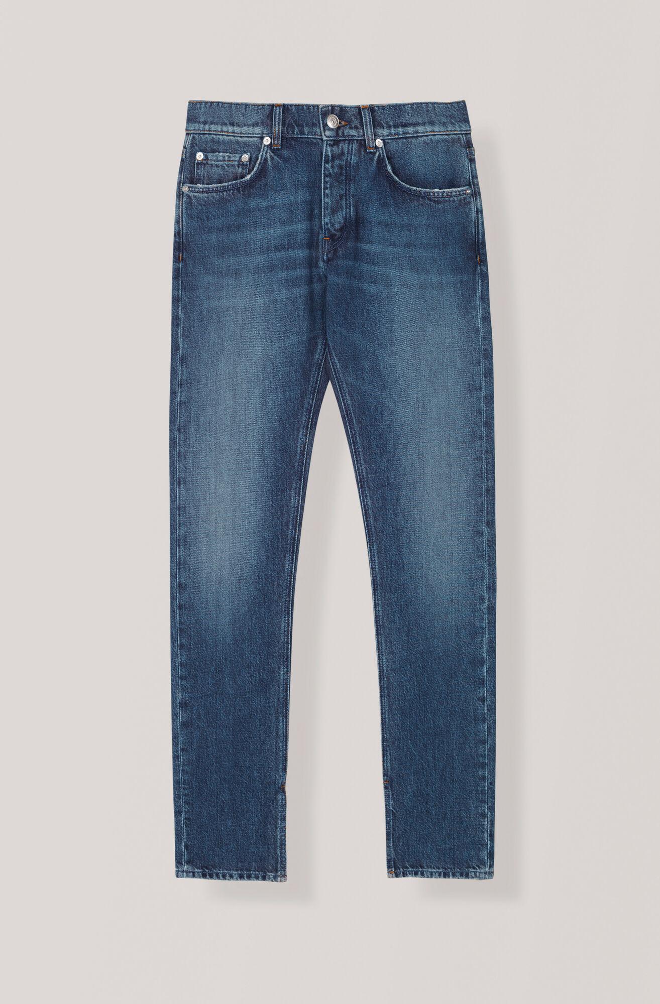 Washed Denim Slit Pants, Medium Dark Denim, hi-res