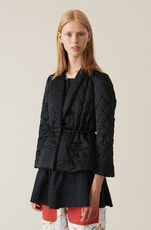 Heavy Satin Quilted Jacket, Black, hi-res