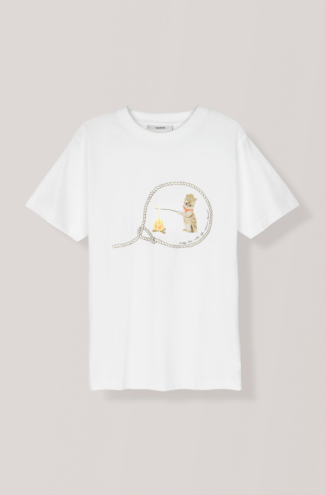 Heavy Cotton Jersey T-shirt, Cowboy Cat, Bright White, hi-res