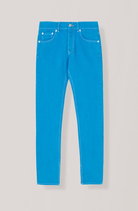 Washed Denim Slit Pants, Lapis Blue Overdyed, hi-res