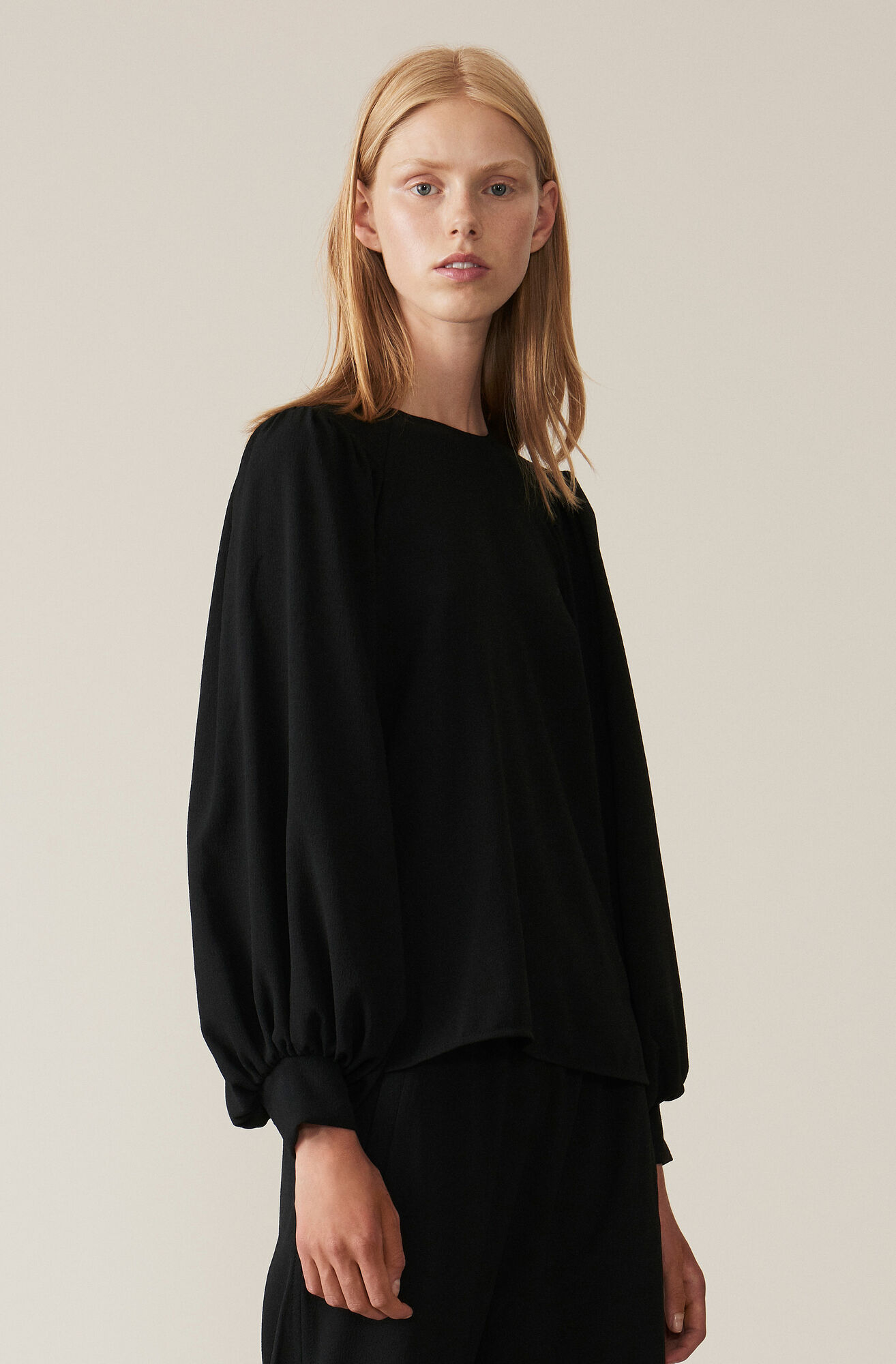 Heavy Crepe Bluse, Black, hi-res
