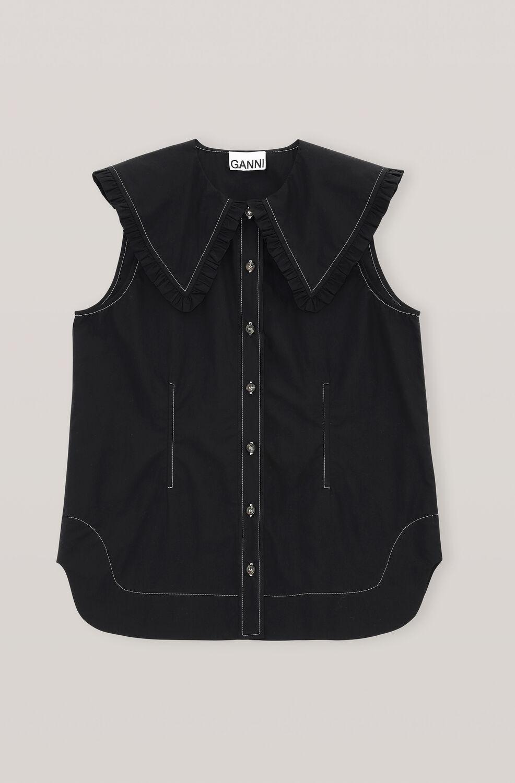 가니 셔츠 Ganni Cotton Poplin Sleeveless Shirt,Black