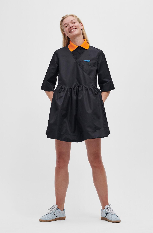 Ganni Outerwear Nylon Wrap Dress,Black