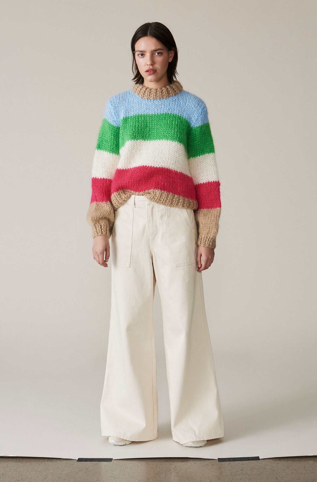 The Julliard Mohair Striped Pullover, Block Colour, hi-res