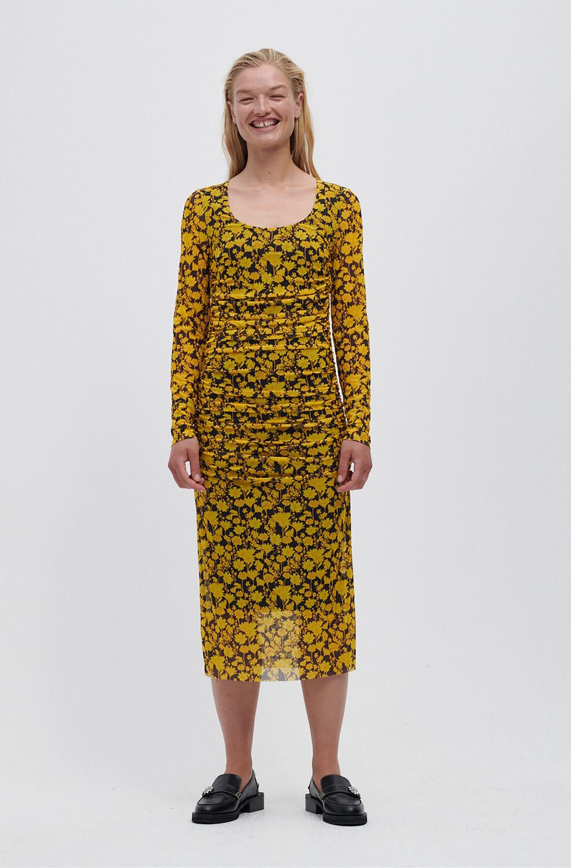 가니 롱 원피스 Ganni Recycled Nylon Ruched Midi Dress,Spectra Yellow