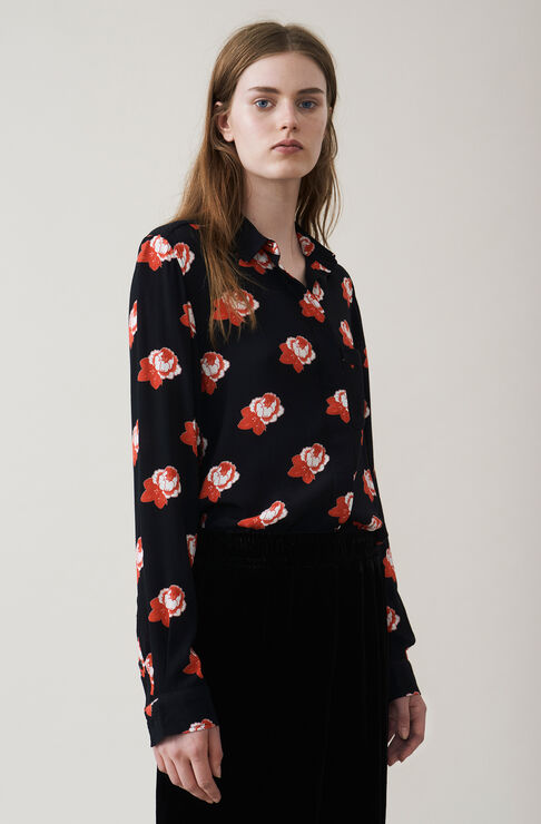 Harley Crepe Shirt, Black, hi-res