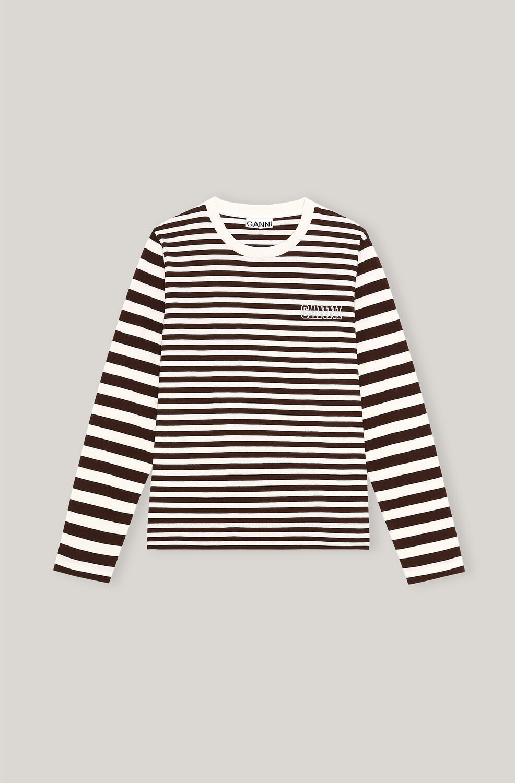 가니 티셔츠  Ganni Thin Software Striped Jersey O-neck Long Sleeve T-shirt, Thin Stripe,Mole